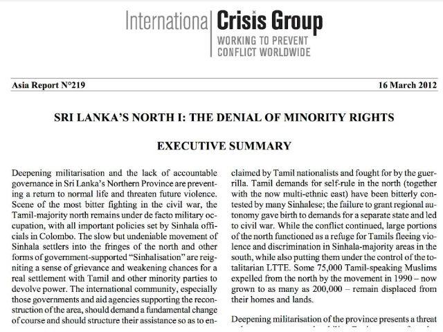 SRI LANKA'S NORTH I: THE DENIAL OF MINORITY RIGHTS